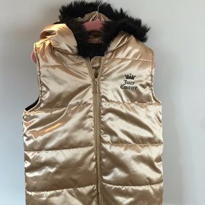 Girls Juicy Couture Gold and fur vest
